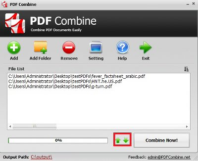 How to Combine PDF Files Step 2 - Reorder PDF Files