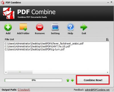 How to Combine PDF Files Step 3 - Combine PDF Files